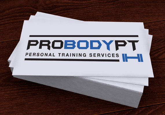 These business cards feature the logo we designed for a personal trainer. He wanted a strong logo which appealed to both male and female clients.