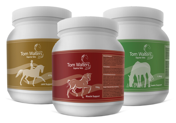 Packaging designs for Tom Walters Equine Vets. They required labels for a range of horse food supplements with strong corporate identity to stand out in the market.