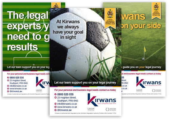 This set of adverts are running in a football match programme. Kirwans sponsor Southport FC so we worked on this concept to promote the legal advice they offer to their fans each week.